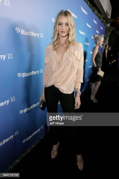 Model Rose HuntingtonWhiteley attends a celebration of the BlackBerry Z10 Smartphone launch at Cecconi's Restaurant on March 20 2013 in Los Angeles...