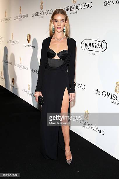Model Rosie Huntington Whiteley attends the De Grisogono dinner party in collaboration with Gyunel during Cannes film festival at Hotel du CapEdenRoc...