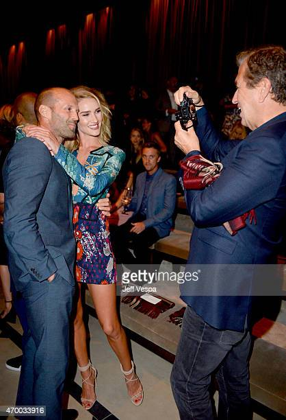 Model Rosie HuntingtonWhiteley actor Jason Statham and photographer Mario Testino attend the Burberry 'London in Los Angeles' event at Griffith...
