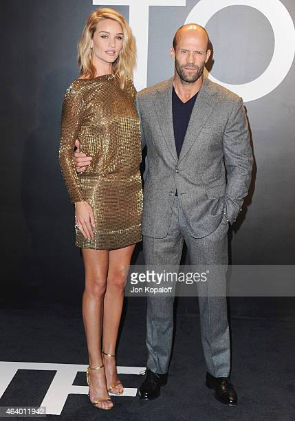 Model Rosie HuntingtonWhiteley and actor Jason Statham arrive at Tom Ford Autumn/Winter 2015 Womenswear Collection Presentation at Milk Studios on...