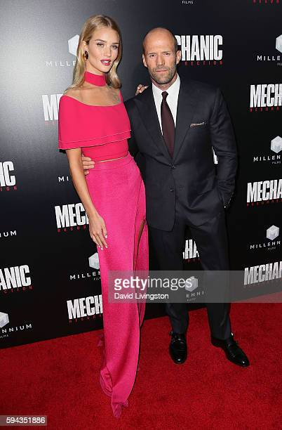 Model Rosie HuntingtonWhiteley and actor Jason Statham attend the premiere of Summit Entertainment's 'Mechanic Resurrection' at ArcLight Hollywood on...