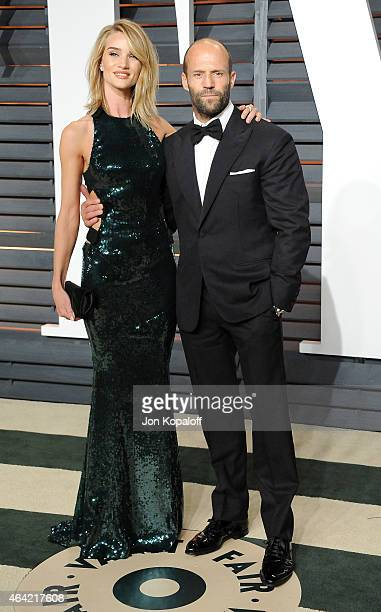 Model Rosie HuntingtonWhiteley and actor Jason Statham attend the 2015 Vanity Fair Oscar Party hosted by Graydon Carter at Wallis Annenberg Center...