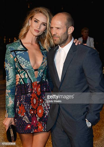Model Rosie HuntingtonWhiteley and actor Jason Statham attend the Burberry London in Los Angeles event at Griffith Observatory on April 16 2015 in...