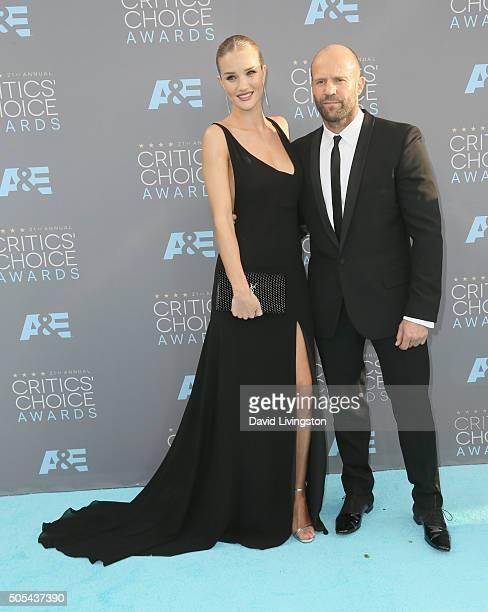 Model Rosie HuntingtonWhiteley and actor Jason Statham attend The 21st Annual Critics' Choice Awards at Barker Hangar on January 17 2016 in Santa...