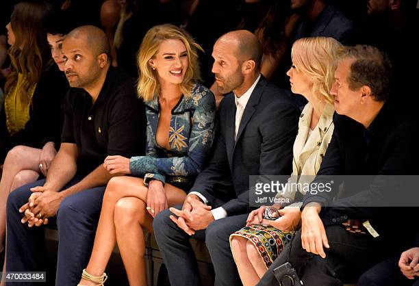 Model Rosie HuntingtonWhiteley and actors Jason Statham and January Jones attend the Burberry 'London in Los Angeles' event at Griffith Observatory...