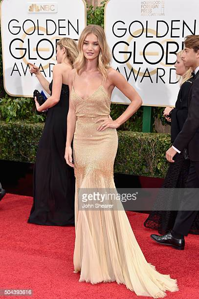 Model Rosie HuntingtonWhiteley attends the 73rd Annual Golden Globe Awards held at the Beverly Hilton Hotel on January 10 2016 in Beverly Hills...