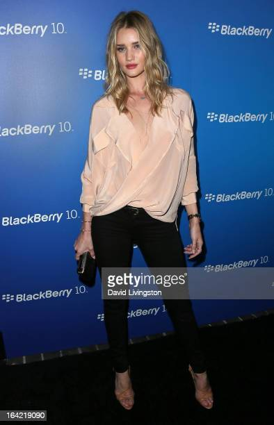 Model Rosie HuntingtonWhiteley attends the BlackBerry Z10 Smartphone launch party at Cecconi's Restaurant on March 20 2013 in Los Angeles California