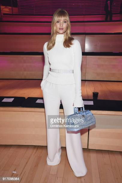 Model Rosie HuntingtonWhiteley attends the Brandon Maxwell front row during New York Fashion Week The Shows at Appel Room on February 11 2018 in New...