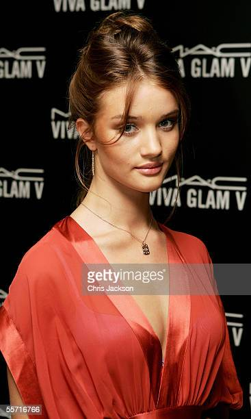 Model Rosie HuntingtonWhiteley attends the MAC Cosmetics London Fashion Week Cocktail Party with MAC AIDS Fund spokesperson Linda Evangelista at The...
