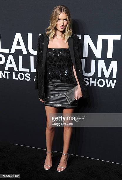 Model Rosie HuntingtonWhiteley attends the Saint Laurent show at The Hollywood Palladium on February 10 2016 in Los Angeles California