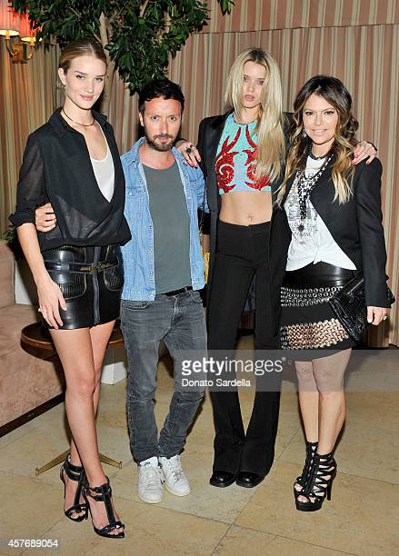 Model Rosie HuntingtonWhiteley fashion designer Anthony Vaccarello model Abbey Lee Kershaw and fashion designer Elyse Walker attend the FORWARD by...