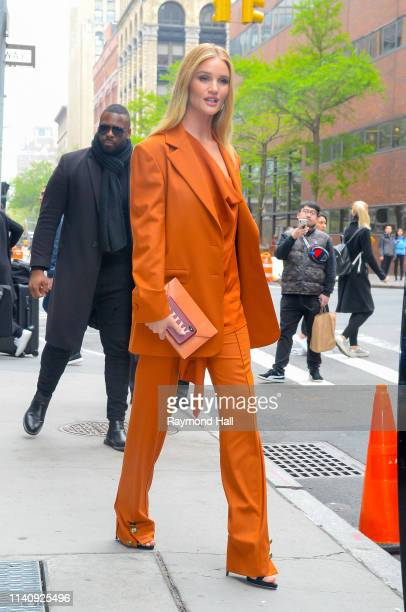 Model Rosie Huntington-Whiteley is seen outside aol build on May 3, 2019 in New York City.