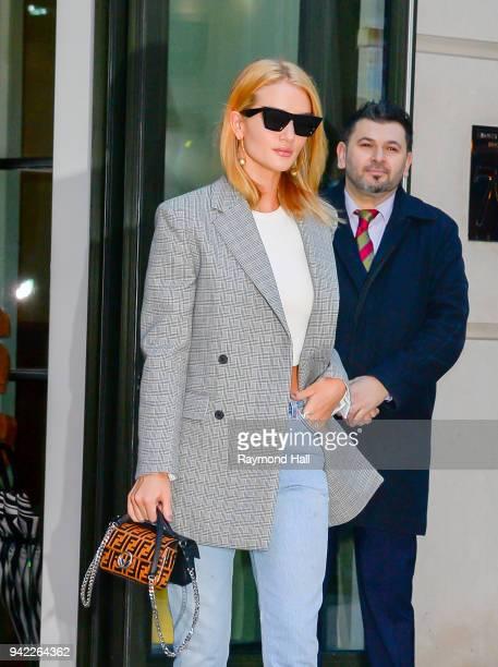 Model Rosie HuntingtonWhiteley is seen walking in Soho on April 5 2018 in New York City