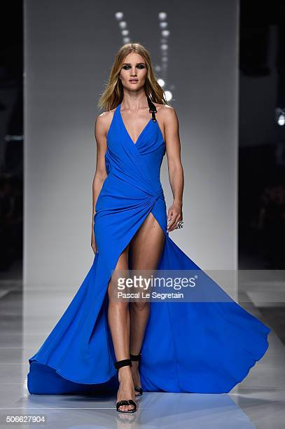 Model Rosie HuntingtonWhiteley walks the runway during the Versace Spring Summer 2016 show as part of Paris Fashion Week on January 24 2016 in Paris...