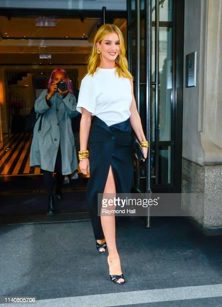 Model Rosie Hunting-Whiteley is seen walking in midtown on May 2, 2019 in New York City.