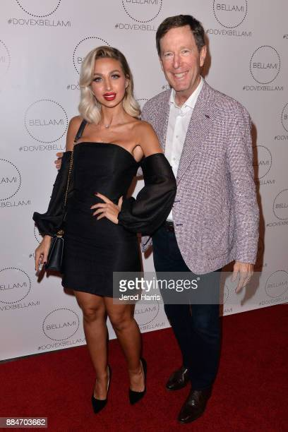 Model Roz and BELLAMI CEO Scott Friedman attend Dove Cameron x BELLAMI Launch Party at Unici Casa Gallery on December 2 2017 in Culver City California