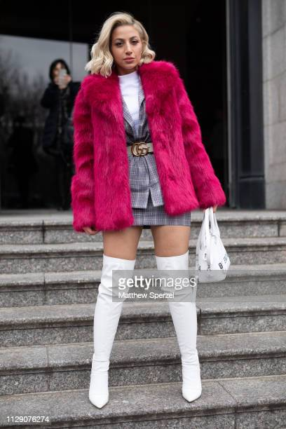 Model Roz is seen on the street during New York Fashion Week AW19 wearing Carolina Herrera on February 11 2019 in New York City