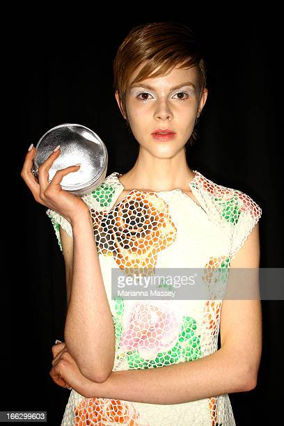 Model Ruby Jean prepares backstage ahead of the Shakuahachi show during MercedesBenz Fashion Week Australia Spring/Summer 2013/14 at Carriageworks on...