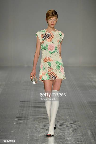 Model Ruby Jean showcases designs on the runway at the Shakuhachi show during MercedesBenz Fashion Week Australia Spring/Summer 2013/14 at...