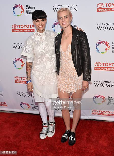 Model Ruby Rose and designer Phoebe Dahl arrive at An Evening With Women Benefiting The Los Angeles LGBT Center at the Hollywood Palladium on May 16...
