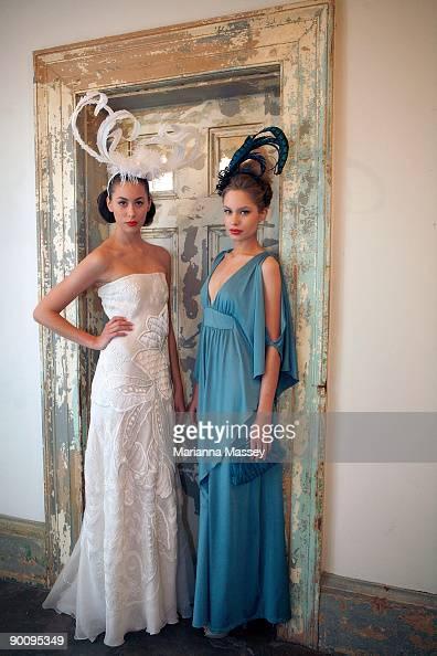 Model Ruby wearing an Ivory dress by Akira and model Ania