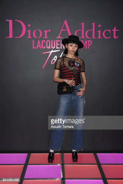 Model Ruka attends the Dior Addict Lacquer Plump Party at 1 OAK on April 10 2018 in Tokyo Japan