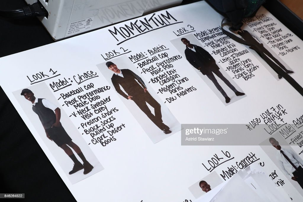 A model run of show is displayed backstage at Momentum By Timo Weiland during New York Fashion Week at Metropolitan West on September 12, 2017 in New York City.