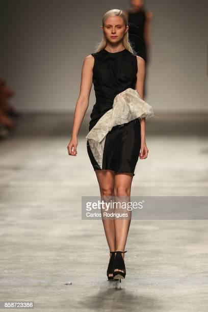 Model runs the catwalk during Aleksandar Protic runway show on October 7 2017 in Lisboa CDP Portugal