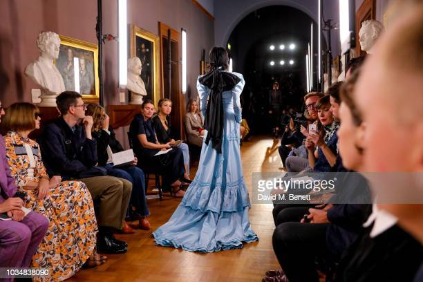 Model runs the runway at Erdem SS19 Show - Production By Family Limited on September 17, 2018 in London, England.