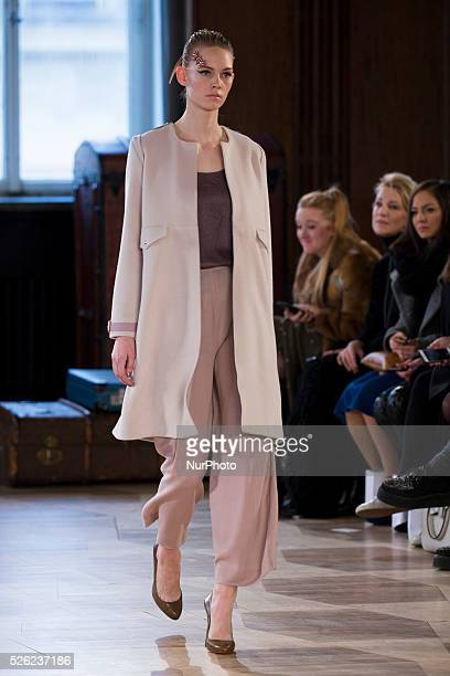 A model runs the runway at the Marina Hoermanseder fashion show during the MercedesBenz Fashion Week Berlin Autumn/Winter 2016 at Kronprinzenpalais...