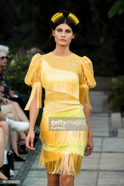 A model runs the runway during the Marcel Ostertag fashion show during the Mercedes Benz Berlin Fashion Week Spring/Summer 2019 in Berlin Germany on...
