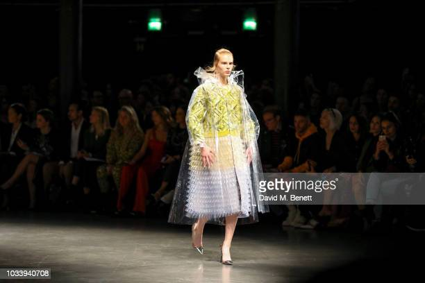 A model runs the runway Mary Katrantzou SS19 show production by Family Limited on September 15 2018 in London England
