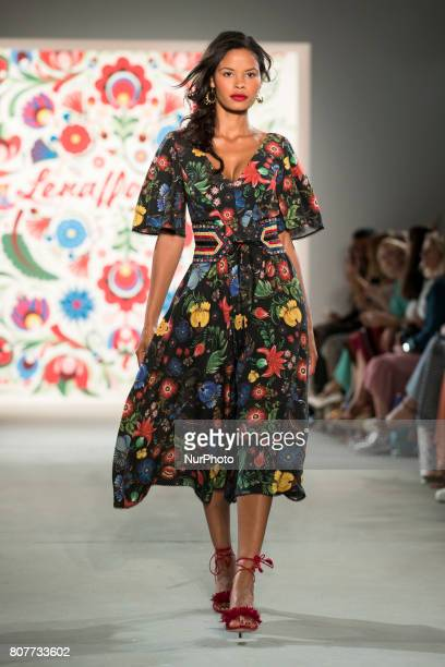 A model runs the runwy at Lena Hoschek fashion show during the MercedesBenz Berlin Fashion Week Spring/Summer 2018 at Jandorf Kaufhaus in Berlin...