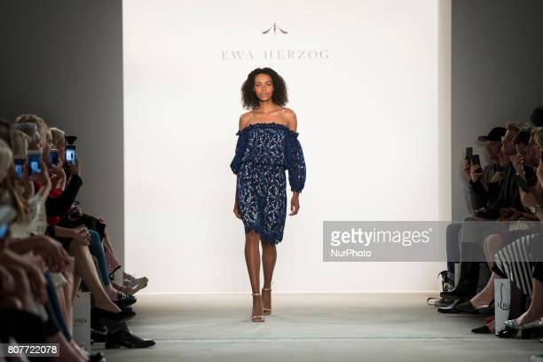 A model runs the runwy at the Ewa Herzog fashion show during the MercedesBenz Berlin Fashion Week Spring/Summer 2018 at Jandorf Kaufhaus in Berlin...
