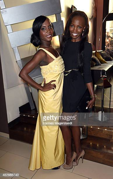 Model Sadia de Kiden and Brenda Severin attends the 'Citroen C4 Cactus' Munich Preview at Leonardo Royal Hotel on July 31 2014 in Munich Germany