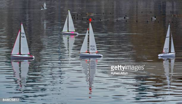 RC Model Sailboats racing in city park of Budapest,Hungary