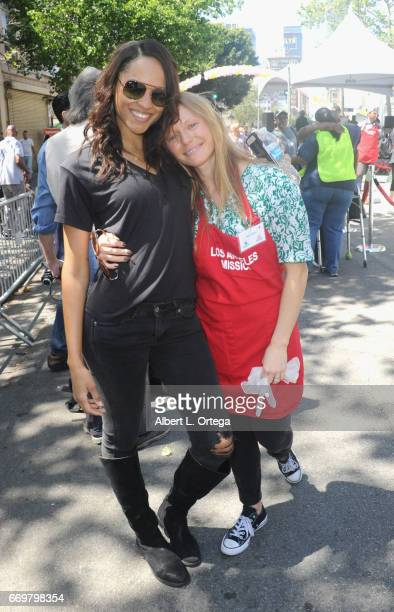 Model Sal Stowers and actress Marci Miller at the Los Angeles Mission's Easter Celebration held at Los Angeles Mission on April 14 2017 in Los...