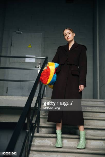 Model Salome Turdziladze backstage at Materiel by Materiel by Lado Bokuchava FW18 on May 6 2018 in Tbilisi Georgia