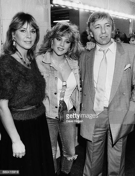 Model Samantha Fox with her parents at the Hippodrome in London March 18th 1986