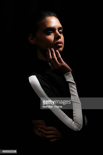 Model Samantha Harris poses backstage ahead of the Ashkar Line show at MercedesBenz Fashion Week Australia 2015 at Carriageworks on April 13 2015 in...