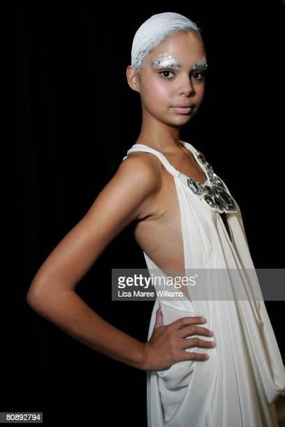 Model Samantha Harris poses backstage ahead of the Michelle Jank show on the first day of the Rosemount Australian Fashion Week Spring/Summer 2008/09...
