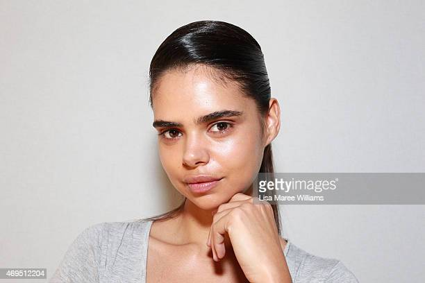 Model Samantha Harris poses backstage ahead of the Tome show at MercedesBenz Fashion Week Australia 2015 at Carriageworks on April 13 2015 in Sydney...