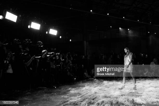 Model Samantha Harris walks the runway in a design by Sass & Bide during the Afterpay's Future of Fashion show during Afterpay Australian Fashion...