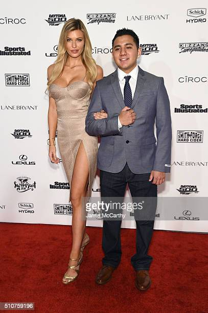Model Samantha Hoopes and Schick Magnet winner Jorge Anaya attend the Sports Illustrated Swimsuit 2016 NYC VIP press event on February 16 2016 in New...