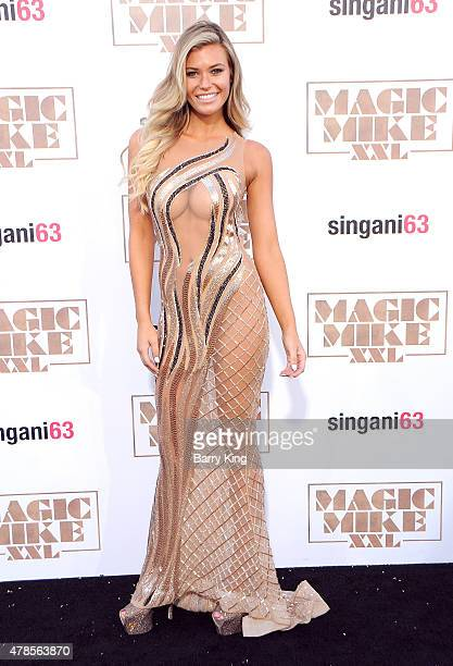 Model Samantha Hoopes arrives at the Los Angeles World Premiere of Warner Bros Pictures 'Magic Mike XXL' at TCL Chinese Theatre on June 25 2015 in...