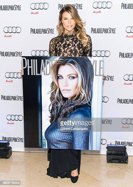 Model Samantha Hoopes attends Philadelphia Style's 2014 Holiday Issue Celebration at Historic Down Town Club on December 16 2014 in Philadelphia...