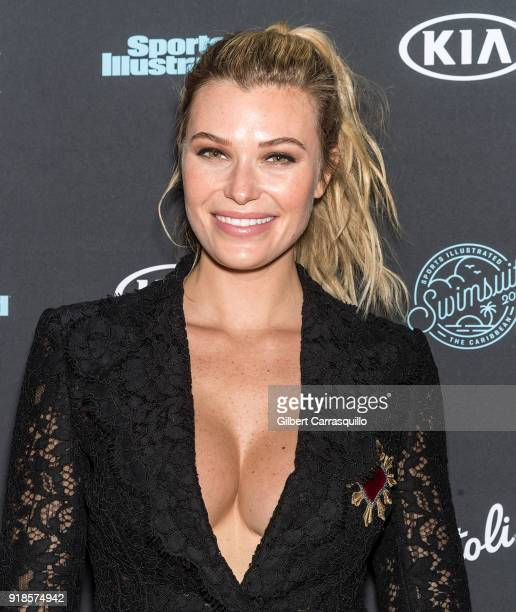 Model Samantha Hoopes attends the 2018 Sports Illustrated Swimsuit Issue Launch Celebration at Magic Hour at Moxy Times Square on February 14 2018 in...