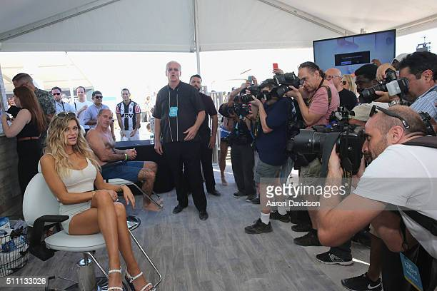 Model Samantha Hoopes attends the Schick Hydro Barbershop at the Sports Illustrated Swimsuit Issue launch celebration on February 17 2016 in Miami...