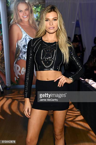 Model Samantha Hoopes poses at the Sports Illustrated Swimsuit 2016 Swim City at the Altman Building on February 15 2016 in New York City