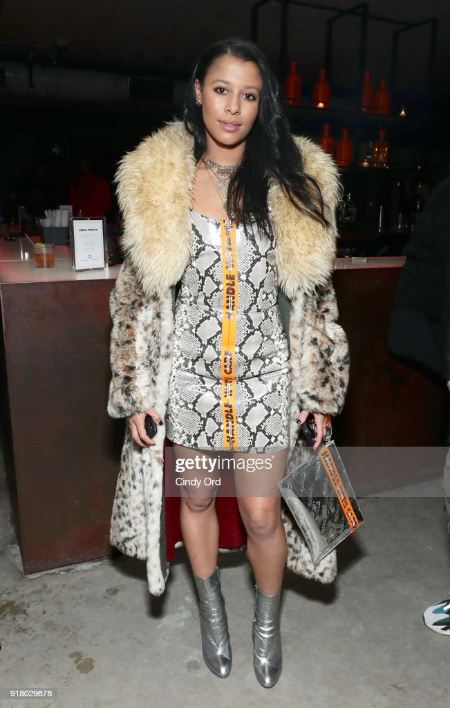 Model Sami Miro attends the Heron Preston + Tequila Avion Dance Party in Celebration Of Heron Preston 'Public Figure' at Public Arts on February 13, 2018 in New York City.